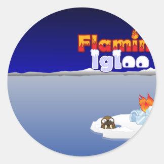 Flaming Igloo Scenic Walrus Classic Round Sticker