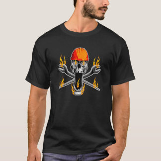 Flaming Ironworker Skull T-Shirt