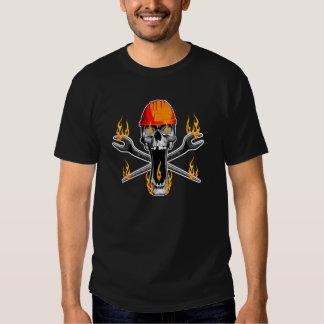 Flaming Ironworker Skull Tshirt