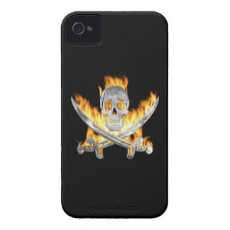 Flaming Jolly Roger iPhone 4 Cases