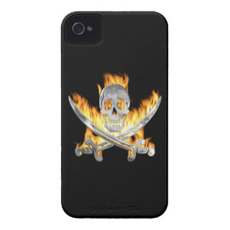 Flaming Jolly Roger iPhone 4 Case