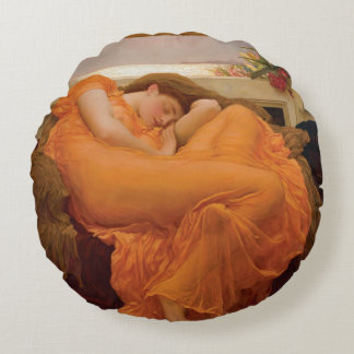 Flaming June by Frederic Leighton Round Pillow