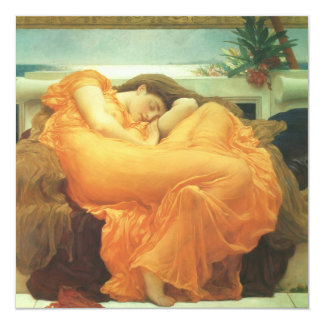 "Flaming June by Leighton, Vintage Victorian Art 5.25"" Square Invitation Card"