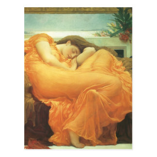 Flaming June by Leighton, Vintage Victorian Art Postcard