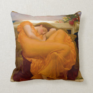 Flaming June by Sir Frederic Leighton Throw Pillows