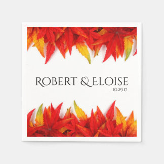 Flaming Leaves Autumn Personalized Napkin