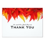 Flaming Leaves Autumn Personalized Thank You Card