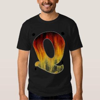 Flaming Letter Q T Shirt