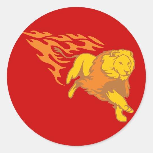 Flaming Lion #5 Classic Round Sticker