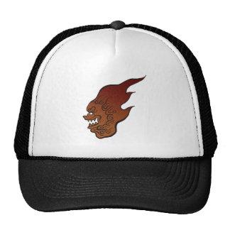 Flaming lion trucker hats