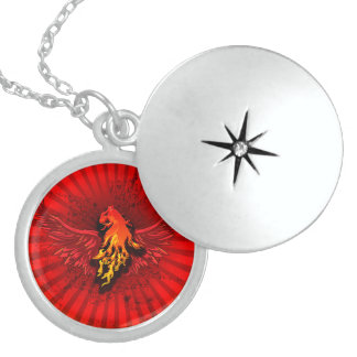 Flaming lion with wings round locket necklace