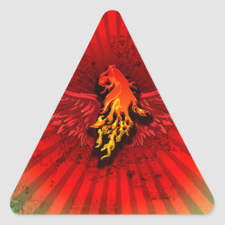 Flaming lion with wings triangle sticker