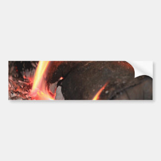 Flaming Log Bumper Sticker