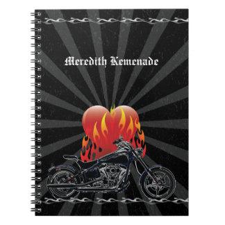 Flaming Love Biker Notebook