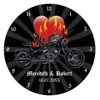 Flaming Love Biker Personalized Wall Clock