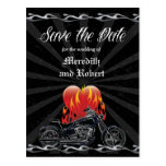 Flaming Love Biker Save the Date Postcard