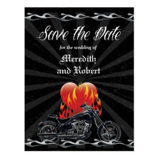 Flaming Love Biker Save the Date Postcard