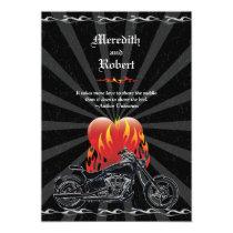 "Flaming Love Biker Wedding Invitation 5"" X 7"" Invitation Card"