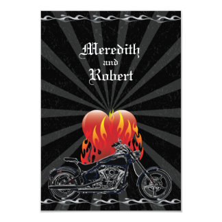 Flaming Love Biker Wedding Reply Card