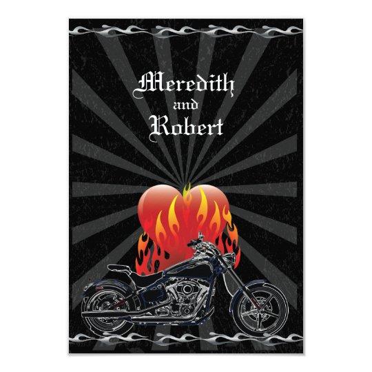 Flaming Love Biker Wedding Reply Card
