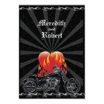 "Flaming Love Biker Wedding Reply Card 3.5"" X 5"" Invitation Card"