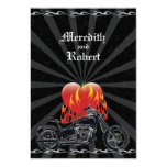 Flaming Love Biker Wedding Reply 3.5x5 Paper Invitation Card