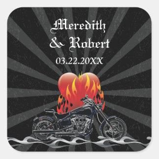 Flaming Love Biker Wedding sticker