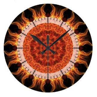 flaming mandala large clock