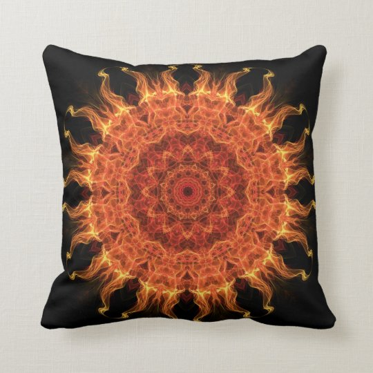 flaming mandala throw pillow