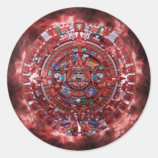 Flaming Mayan Calender Classic Round Sticker