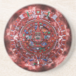 Flaming Mayan Calender Beverage Coasters