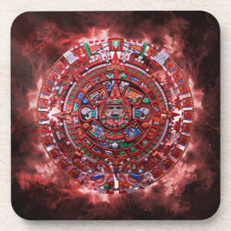 Flaming Mayan Calender Coaster