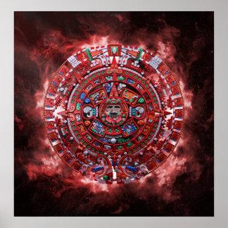 Flaming Mayan Calender Poster