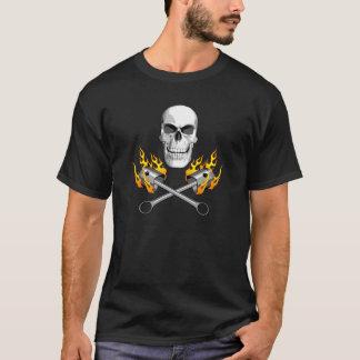 Flaming Mechanic Skull T-Shirt