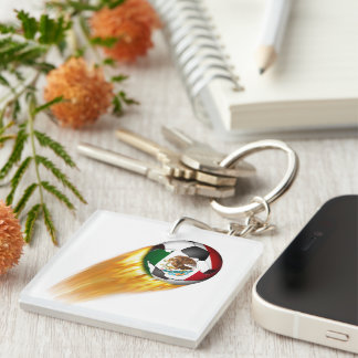 Flaming Mexico Soccer Ball Square Acrylic Keychain