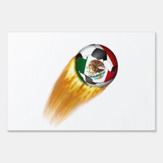 Flaming  Mexico Soccer Ball Yard Sign