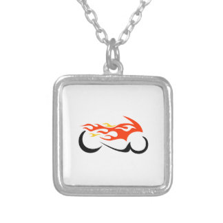 FLAMING MOTORCYCLE PERSONALIZED NECKLACE