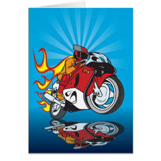 Flaming Motorcyclist Greeting Cards