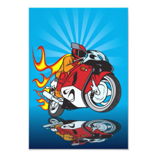 Flaming Motorcyclist Invitations
