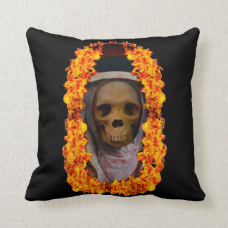 Flaming nun skull pillow