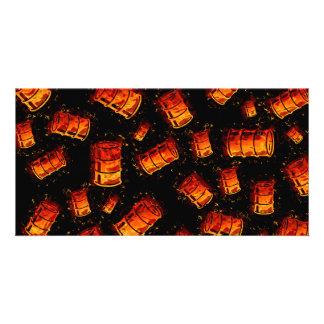 Flaming oil barrels card