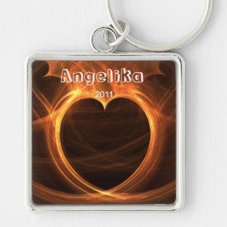 Flaming Orange Fractal Heart Design Keepsake Keychain