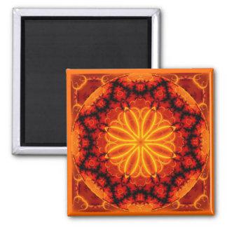 Flaming Orange Kaleidoscope 2 Inch Square Magnet
