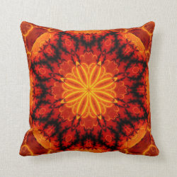 Flaming Orange Kaleidoscope Design Throw Pillow