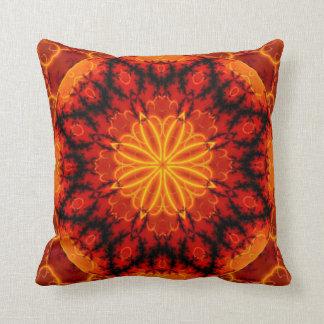 Flaming Orange Kaleidoscope Design Throw Pillow