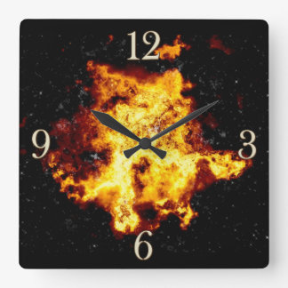 Flaming Outer Space Cloud Burst Wall Clock