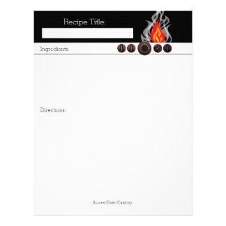 Flaming oven dials cookbook recipe letterhead