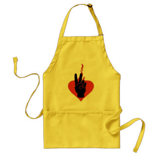 Flaming Peace Heart Adult Apron