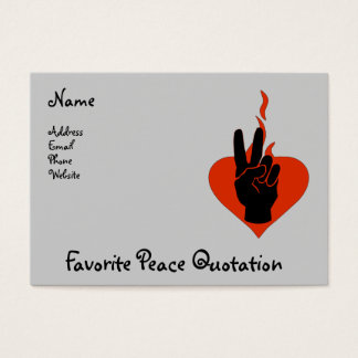 Flaming Peace Heart Business Card