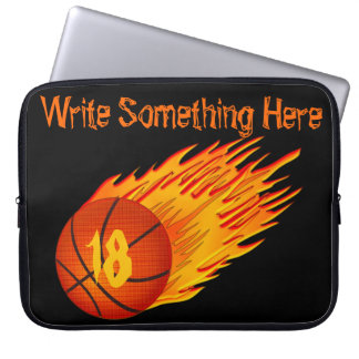 Flaming Personalized Basketball Laptop Sleeve